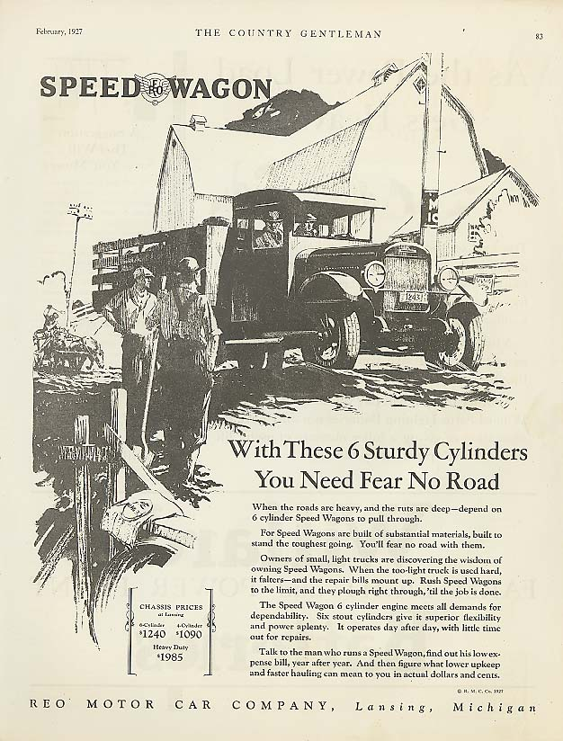 6 Sturdy Cylinders: Reo Speed-Wagon ad 1927