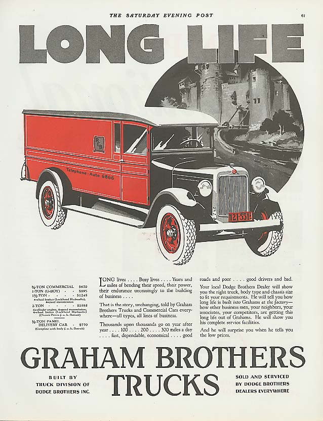 Image for Long Life: Graham Brothers Truck ad 1928