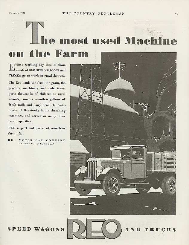 Image for Most Used Machine on the Farm Reo Speed-Wagon ad 1931