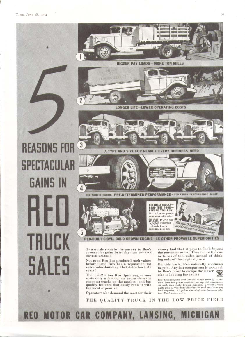 5 reasons for spectacular gains Reo Truck ad 1934
