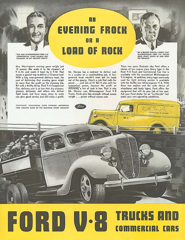 Evening Frock or Load of Rock Ford semi truck ad 1937