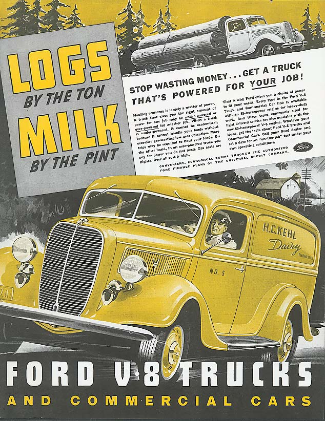 Image for Logs by the Ton Milk by the Pint Ford Truck ad 1937