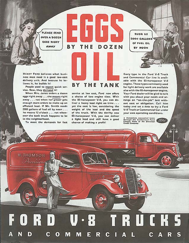 Eggs by the Dozen Oil by the Tank Ford Truck ad 1937