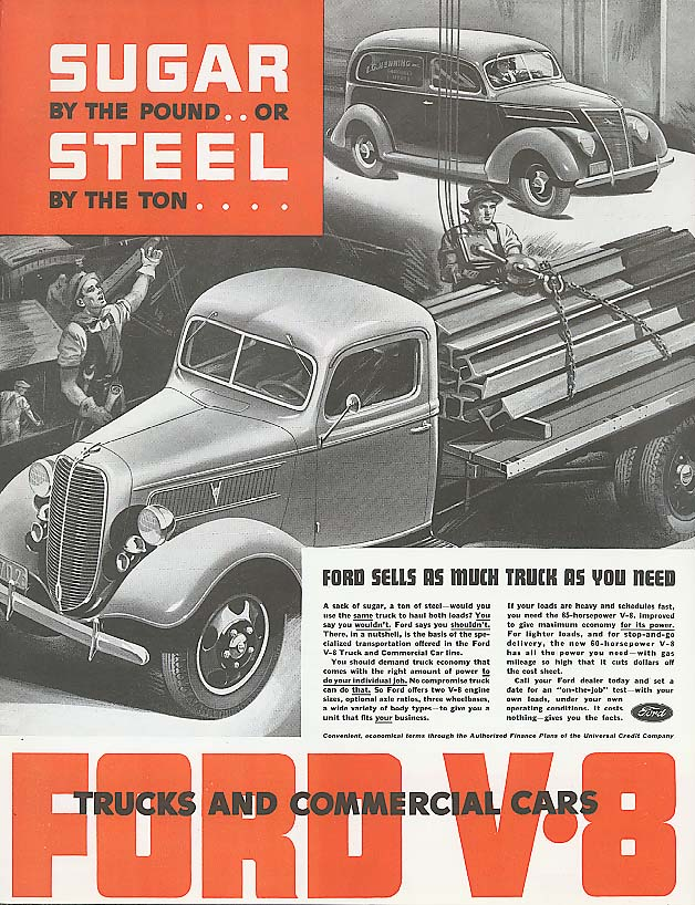 Image for Sugar by the Pound Steel by the Ton Ford Truck ad 1937