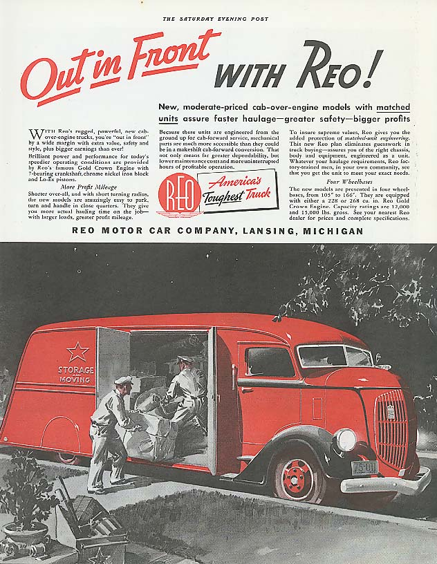 Image for Out in front with Reo Truck ad 1937 Moving Van
