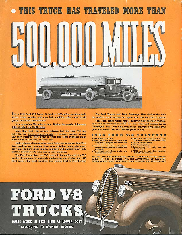 500,000 miles - Ford Truck ad 1938