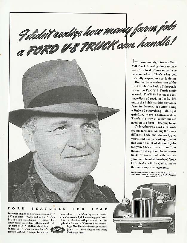Image for I didn't realize how many farm jobs Ford Truck ad 1940