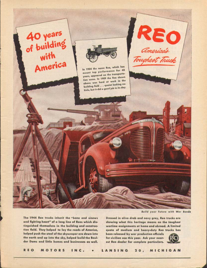 40 Years of building with America Reo Truck ad 1944