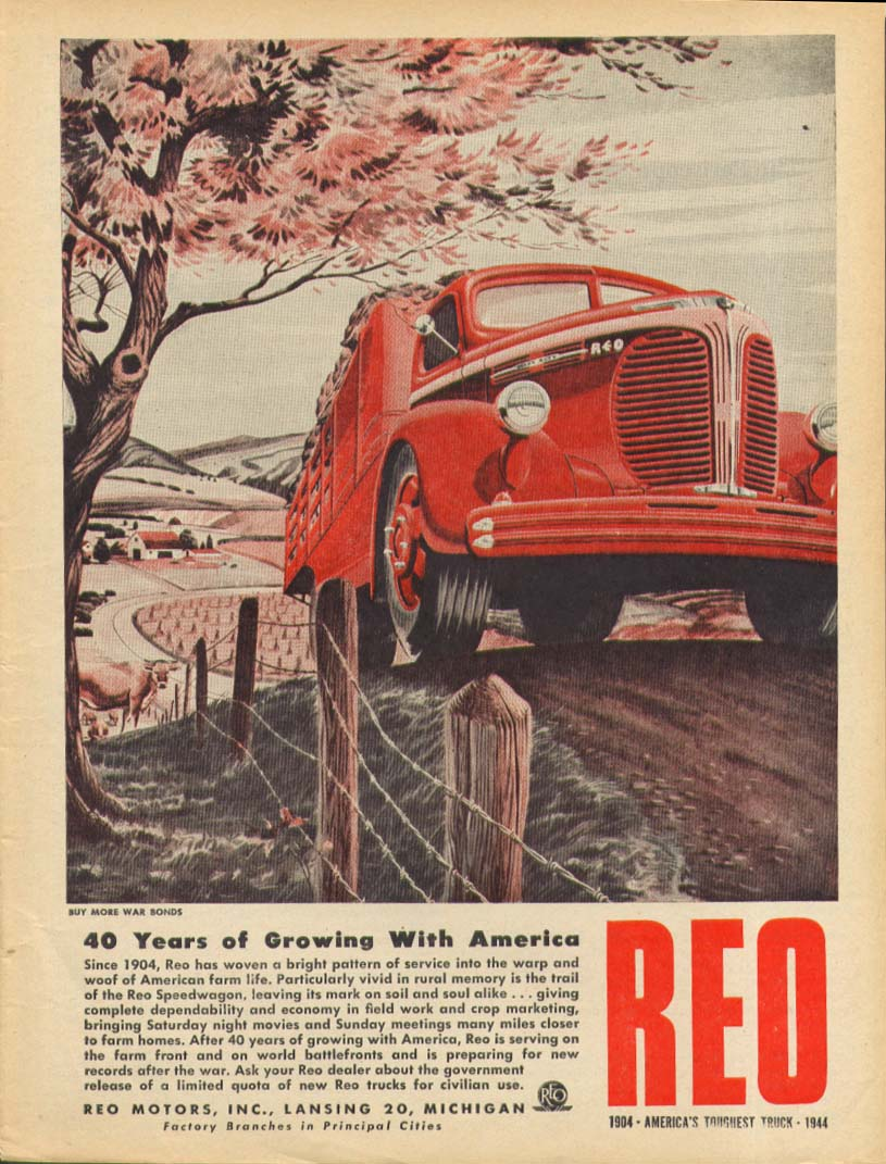 40 Years of Growing with America Reo Truck ad 1944