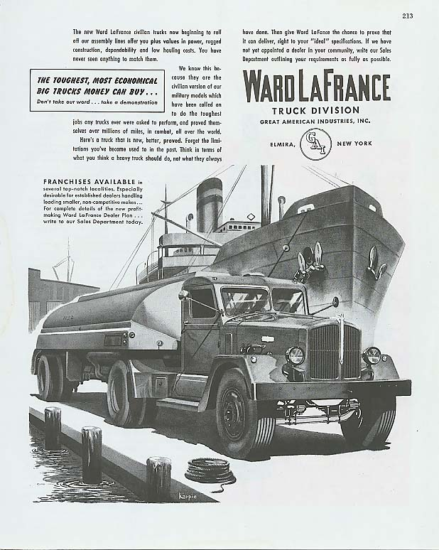 Image for Toughest Most Economical Ward-LaFrance Truck ad 1945