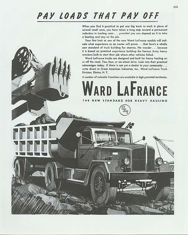 Image for Payloads that Pay Off Ward-LaFrance dump truck ad 1945