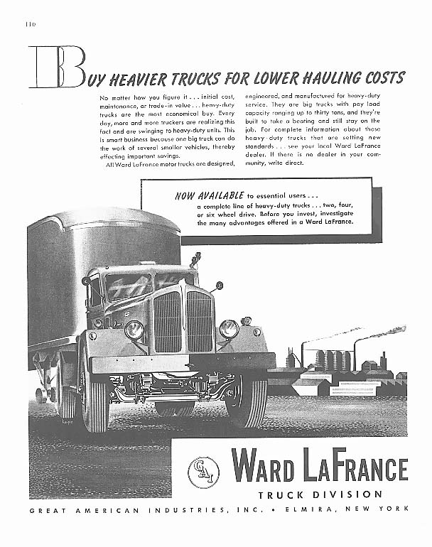 Image for For Lower Hauling Costs Ward-LaFrance Truck ad 1945