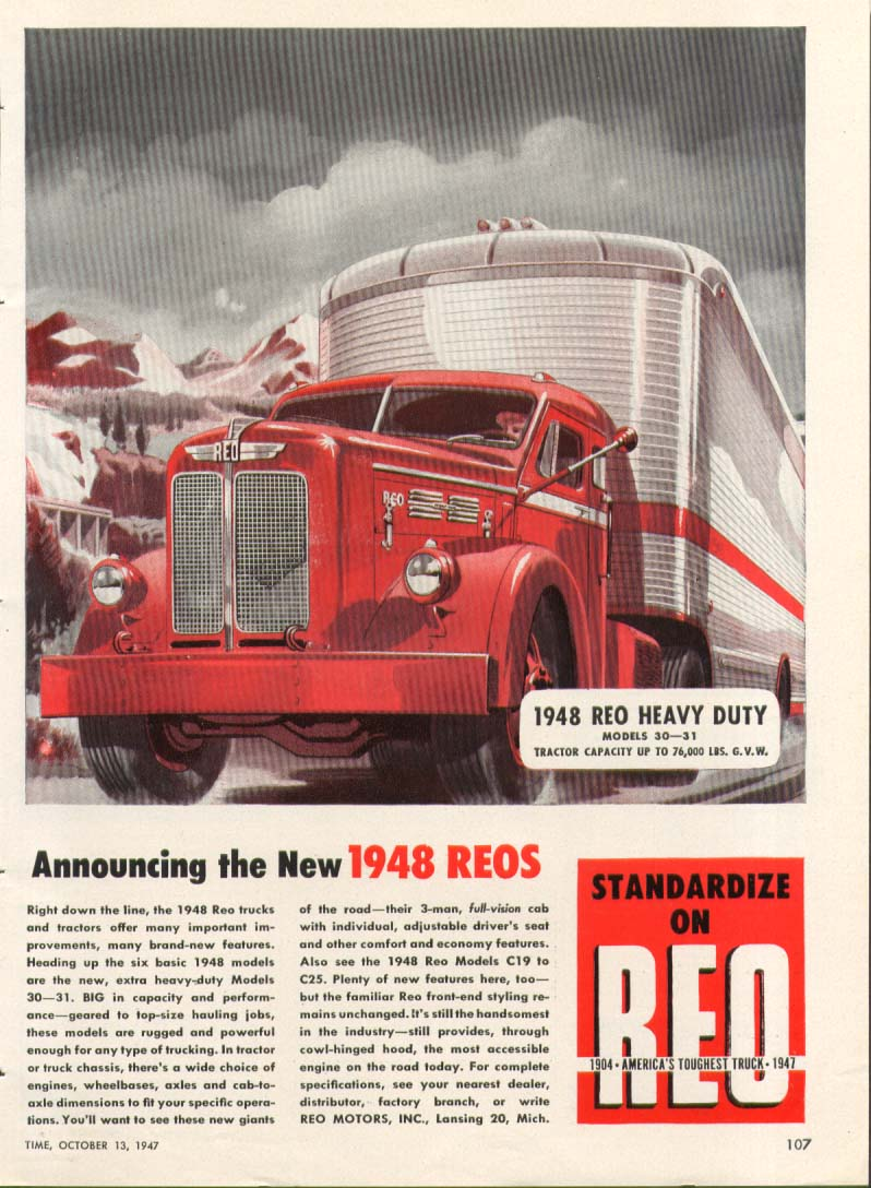 Announcing the New 1948 Reo Truck ad 1947