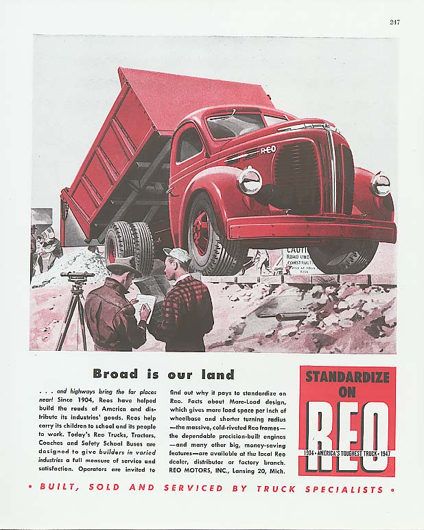 Image for Broad is our land: Reo Dump Truck ad 1947