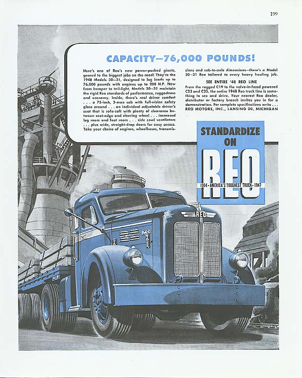 Capacity - 76,000 pounds! Reo Trailer Truck ad 1948