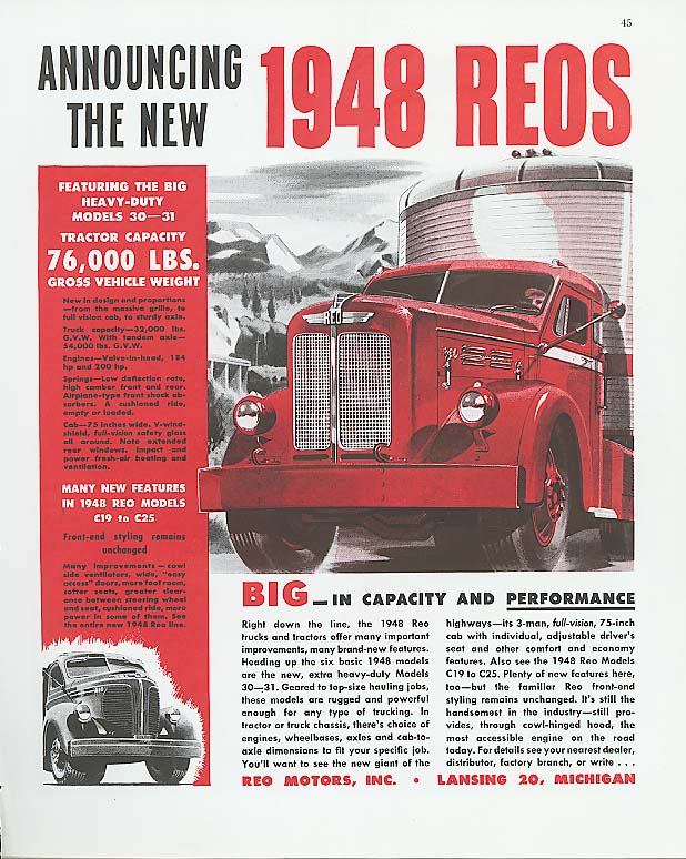 Announcing the new 1948 Reo Truck ad 1948