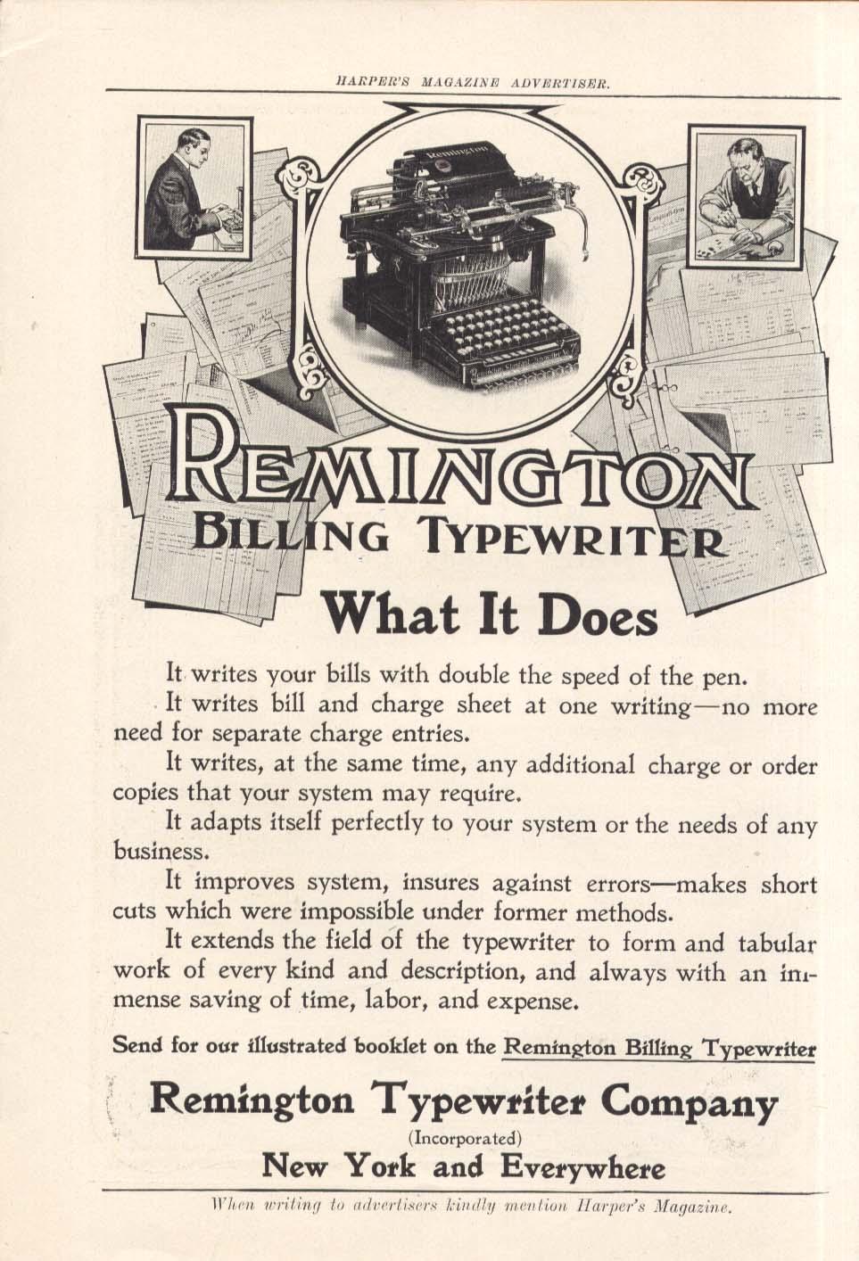 Remington Billing Typewriter - What it does ad 1907