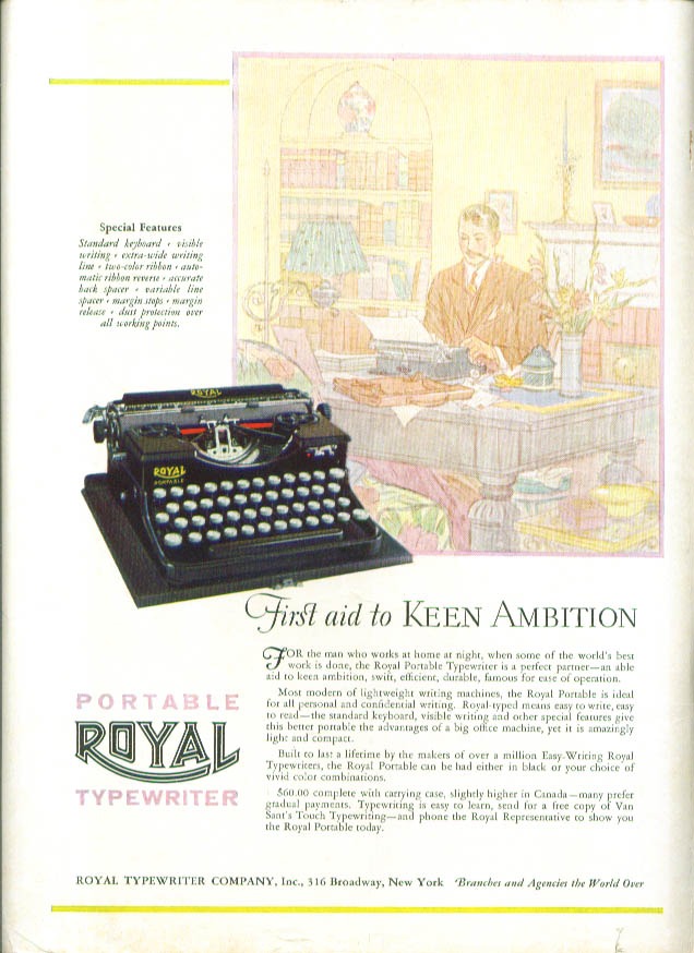 1st Aid Keen Ambition Royal Portable typewriter ad 1927