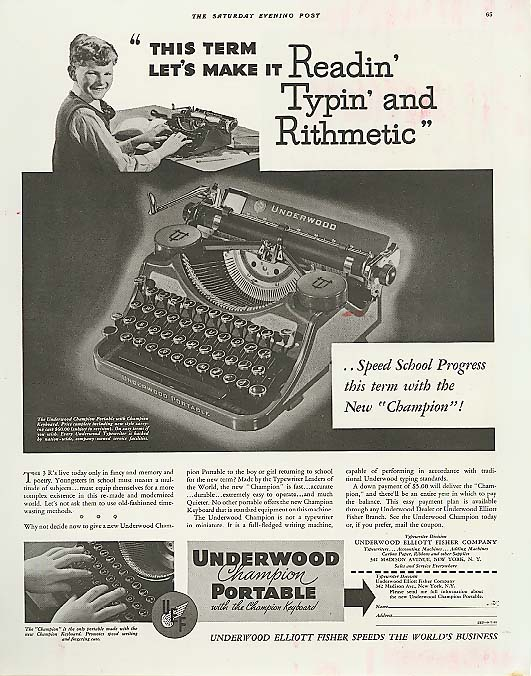 Image for Readin' Typin' & Rithmetic Underwood Typewriter ad 1935