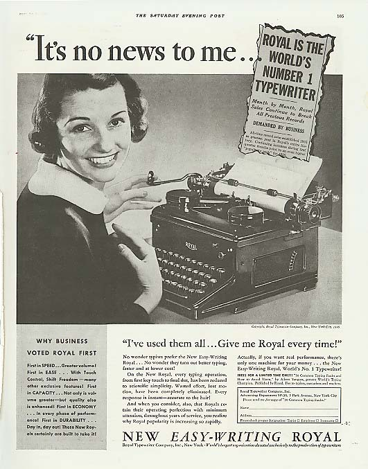 Image for It's no news to me No. 1 Royal Typewriter ad 1936
