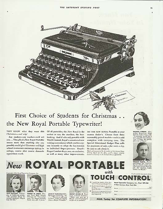 Image for 1st Choice for Xmas Royal Portable Typewriter ad 1936