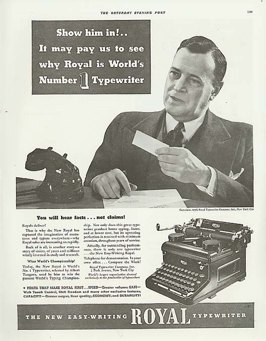 Image for Show him in! Royal No. 1 Typewriter ad 1936