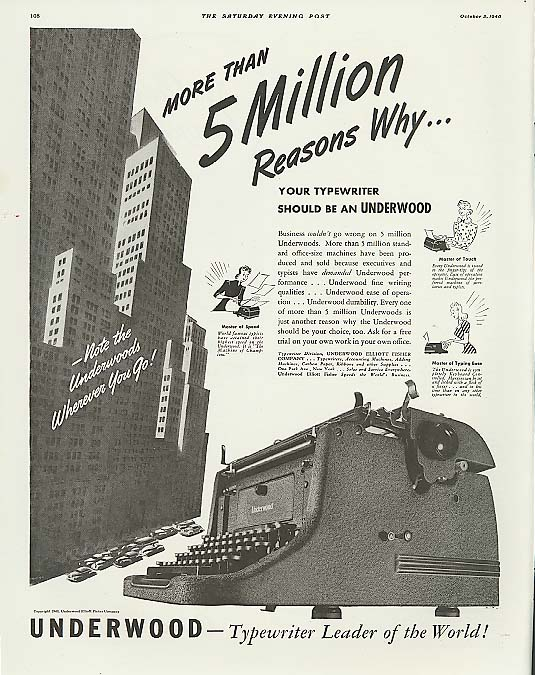 Image for 5 Million Reasons Why Underwood Typewriter ad 1940