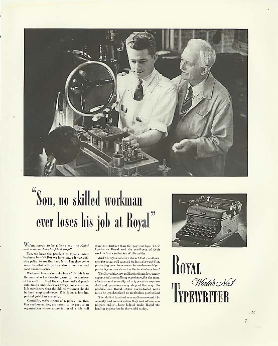 Image for No skilled worker loses job Royal Typewriter ad 1940
