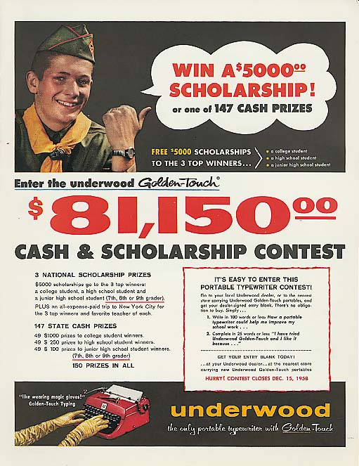 Boy Scout $5000 scholarship Underwood Typewriter ad '58