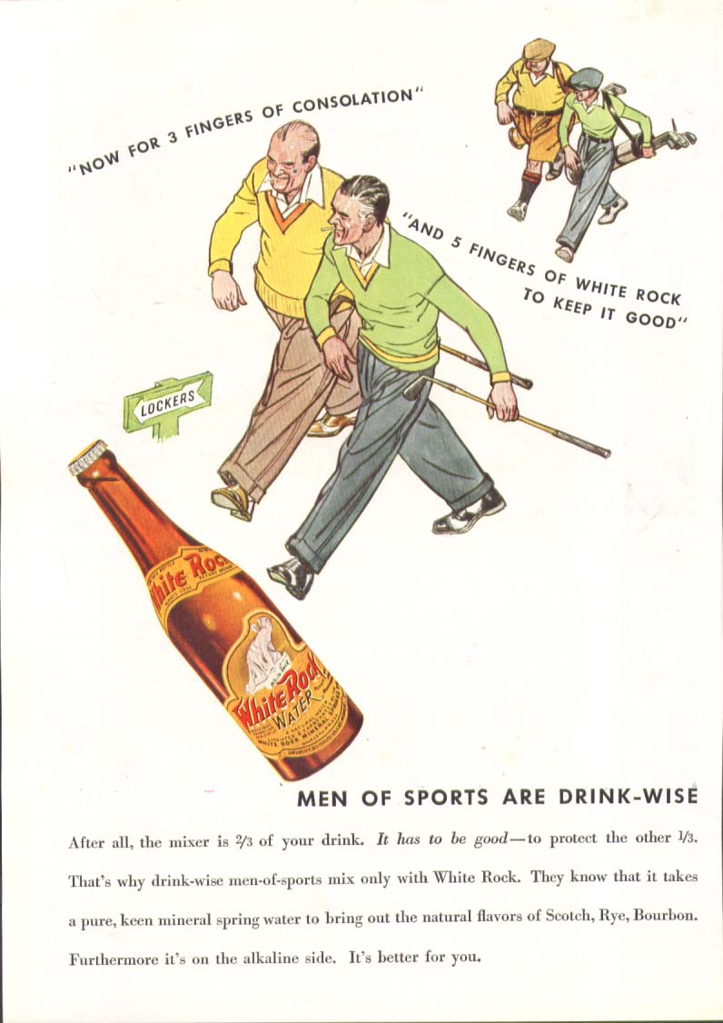 Image for Now for 3 fingers consolation White Rock ad 1935 golfer