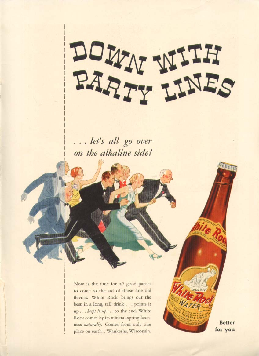 Down with Party Lines White Rock ad 1936