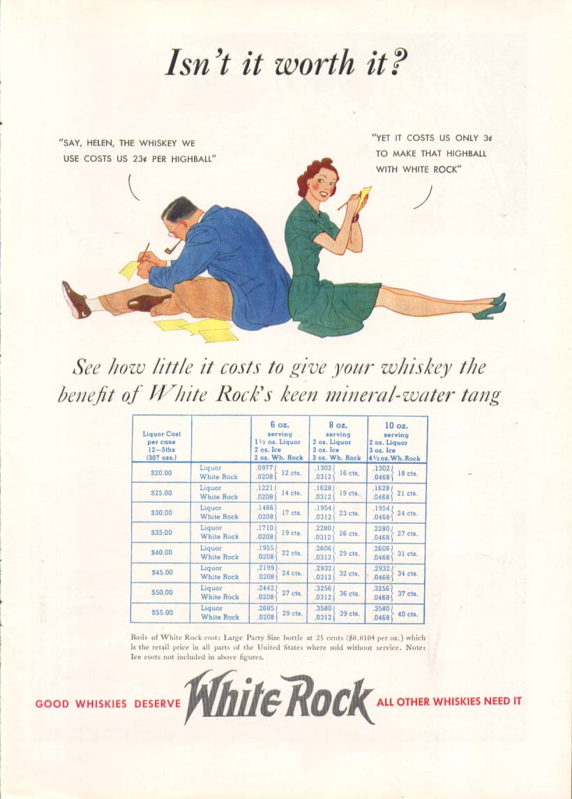 Image for Isnt it worth it? White Rock Water ad 1939
