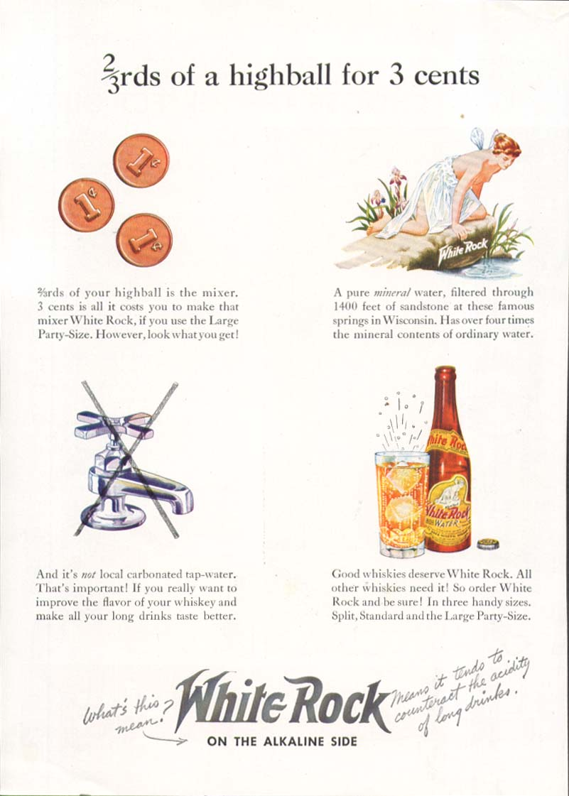 Image for 2/3rds of a highball for 3 cents White Rock ad 1939