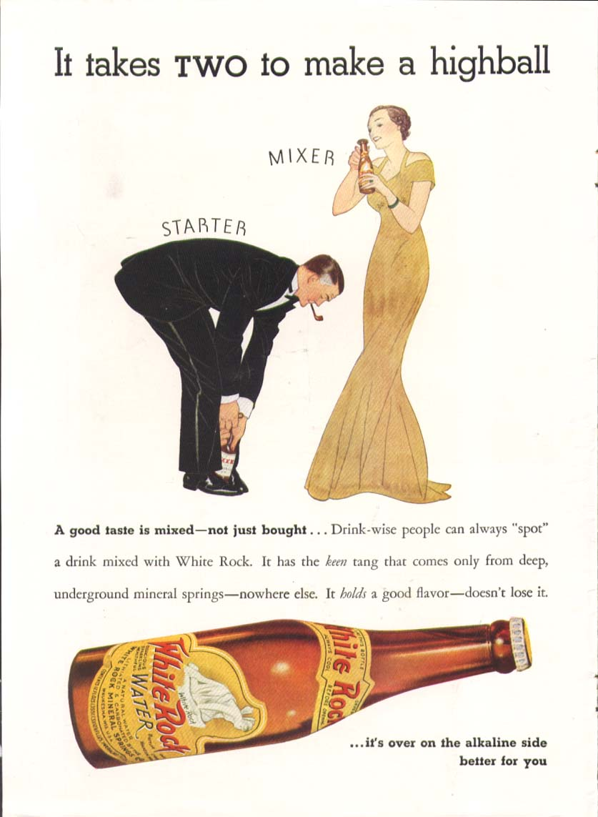 Image for It takes two to make a highball White Rock ad 1939