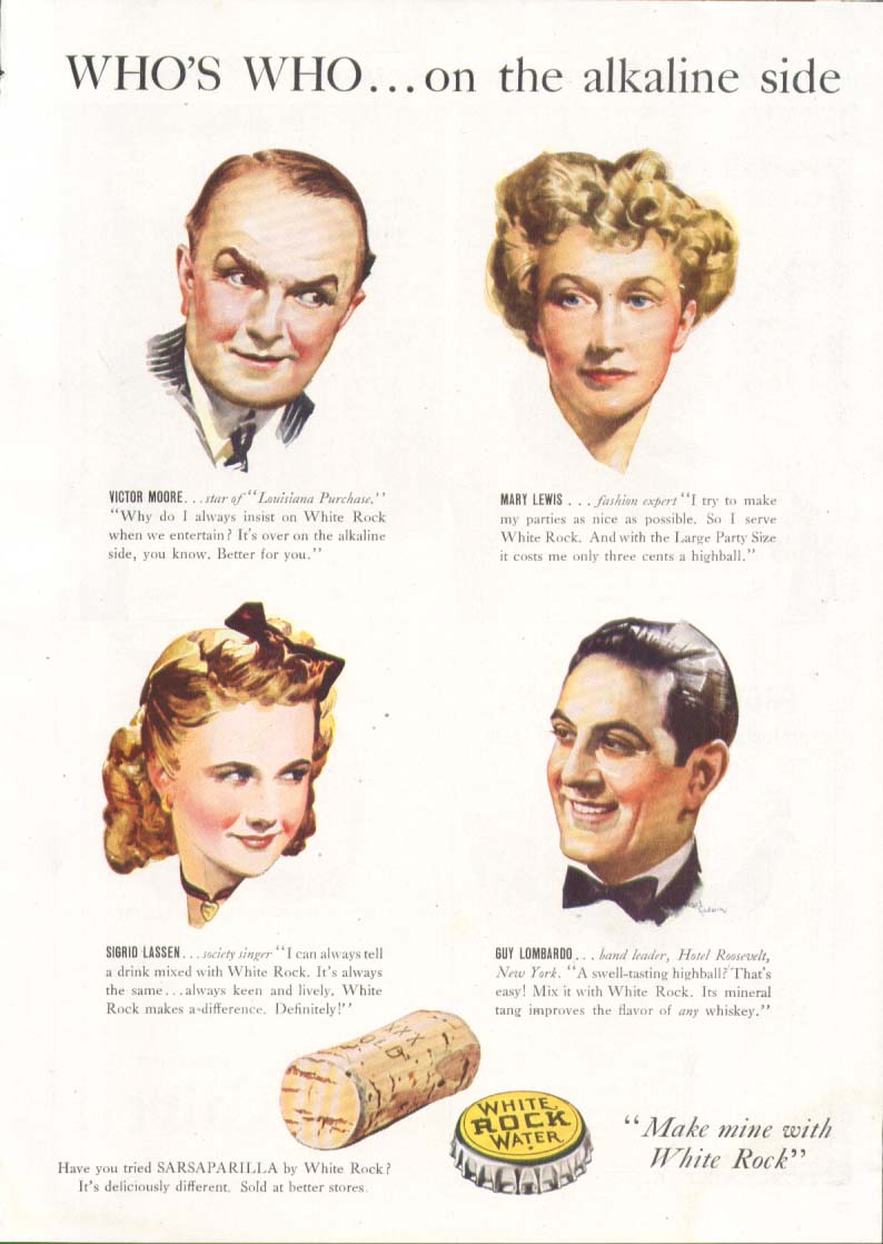 Image for Who's Who on the alkaline side White Rock ad 1940
