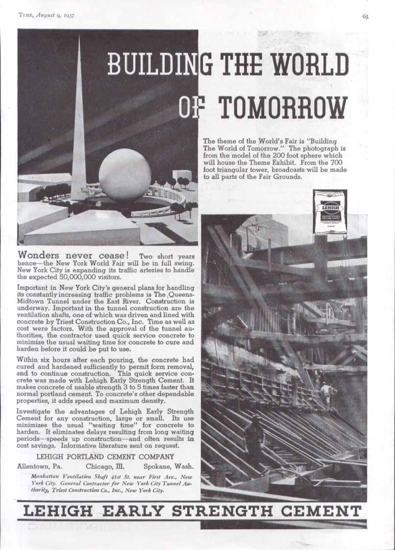 Image for New York World's Fair Lehigh Cement ad 1937