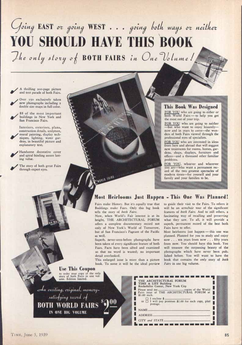 New York World's Fair Architectural Forum book ad 1939