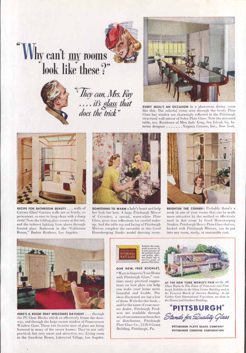 New York World's Fair Pittsburgh Glass my rooms ad 1939