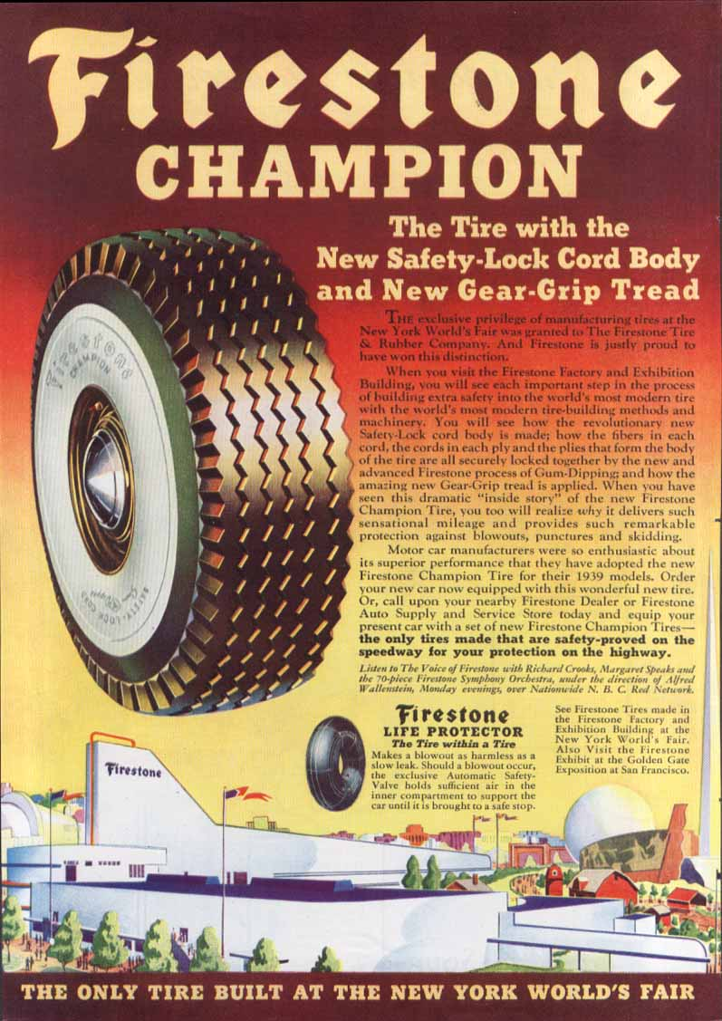 New York World's Fair Firestone Champion ad 1939