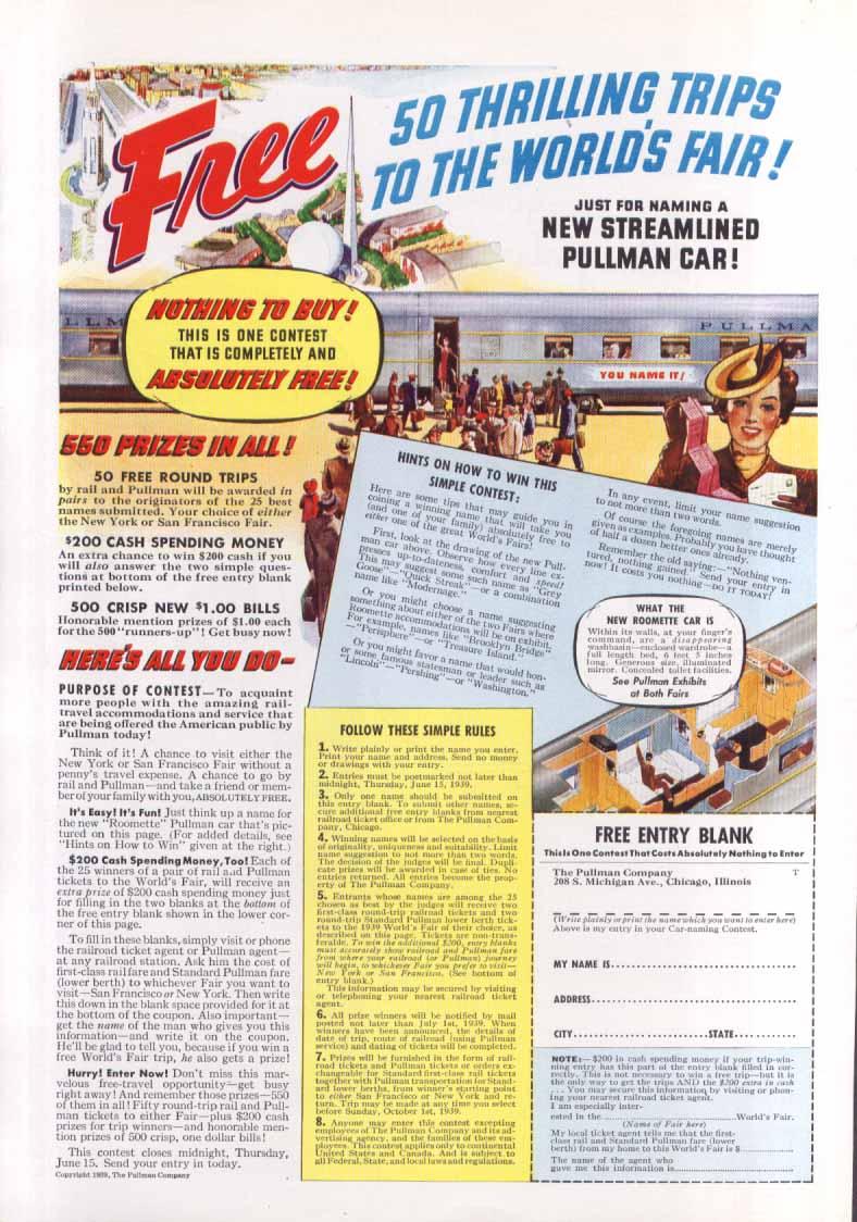 Image for World's Fair Streamlined Pullman Car ad 1939