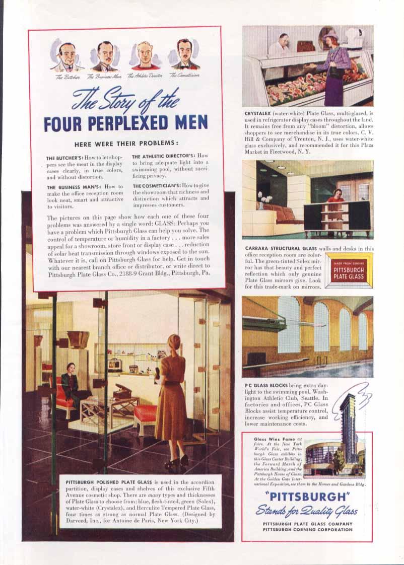 New York World's Fair Pittsburgh Glass Four Men ad 1939