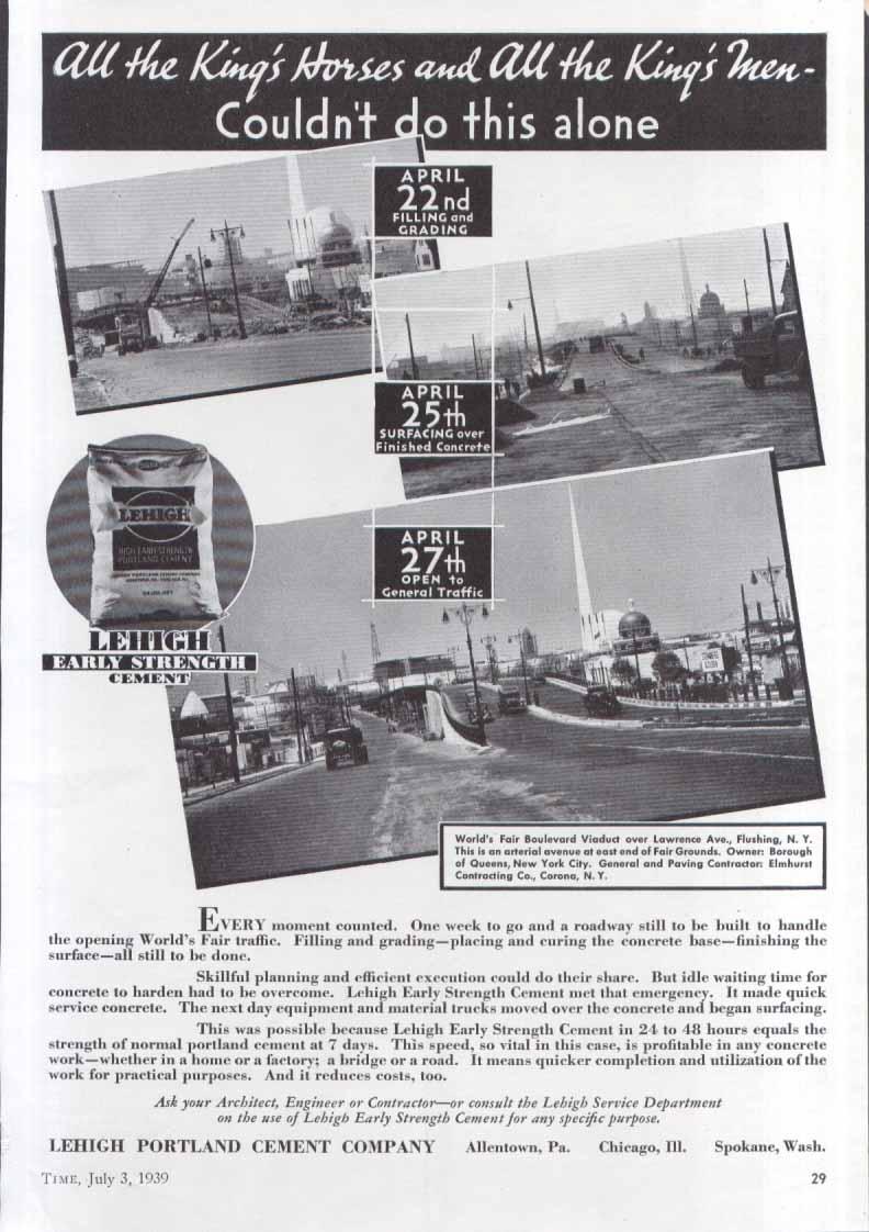 Image for New York World's Fair Lehigh Cement ad 1939