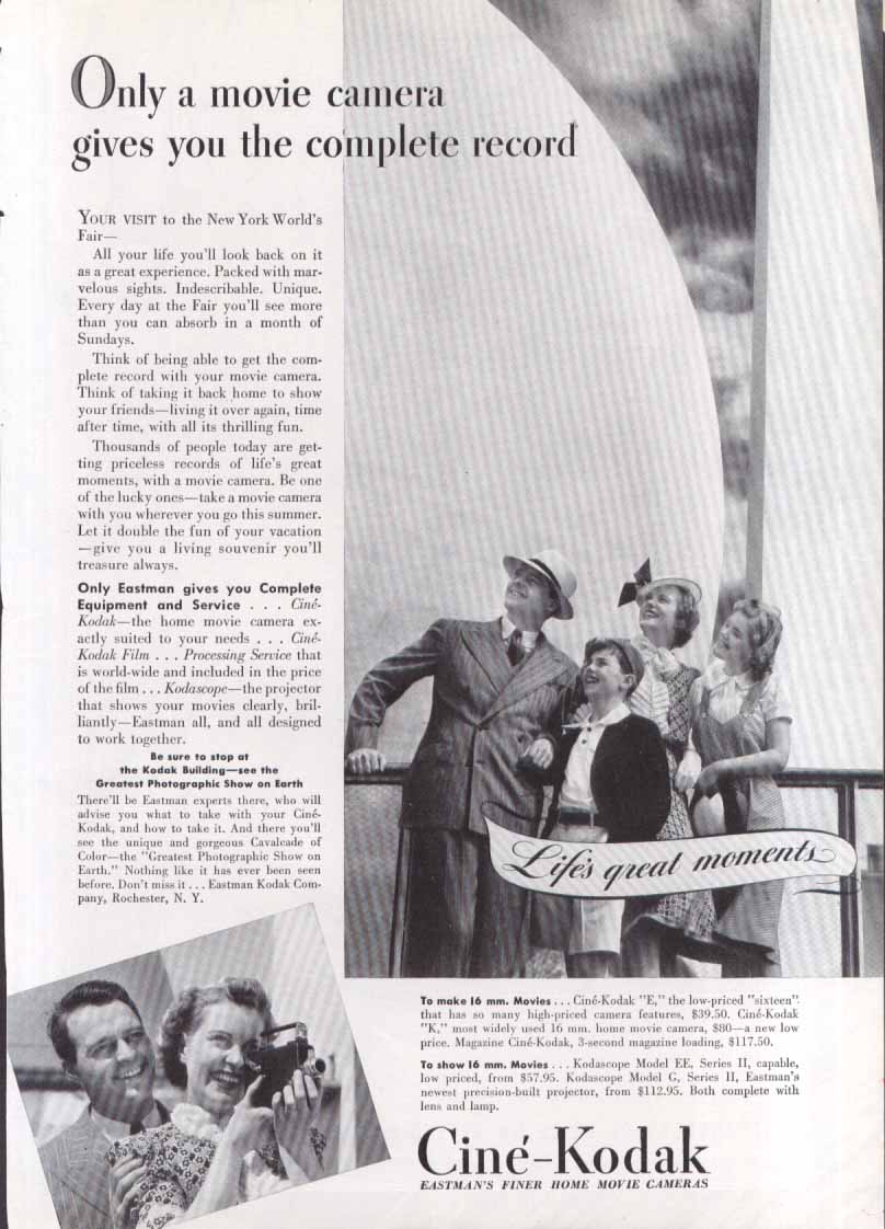 New York World's Fair Ciné-Kodak movie camera ad 1939