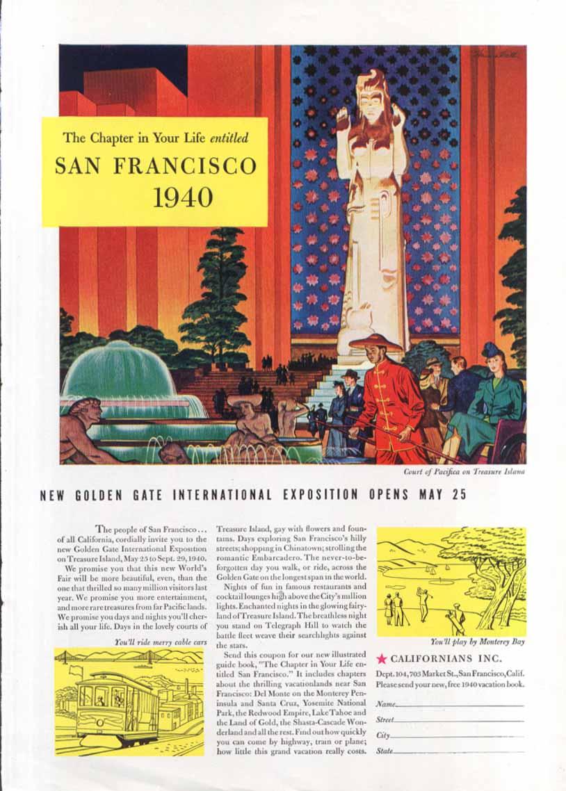 Image for San Francisco World's Fair International Expo ad 1940