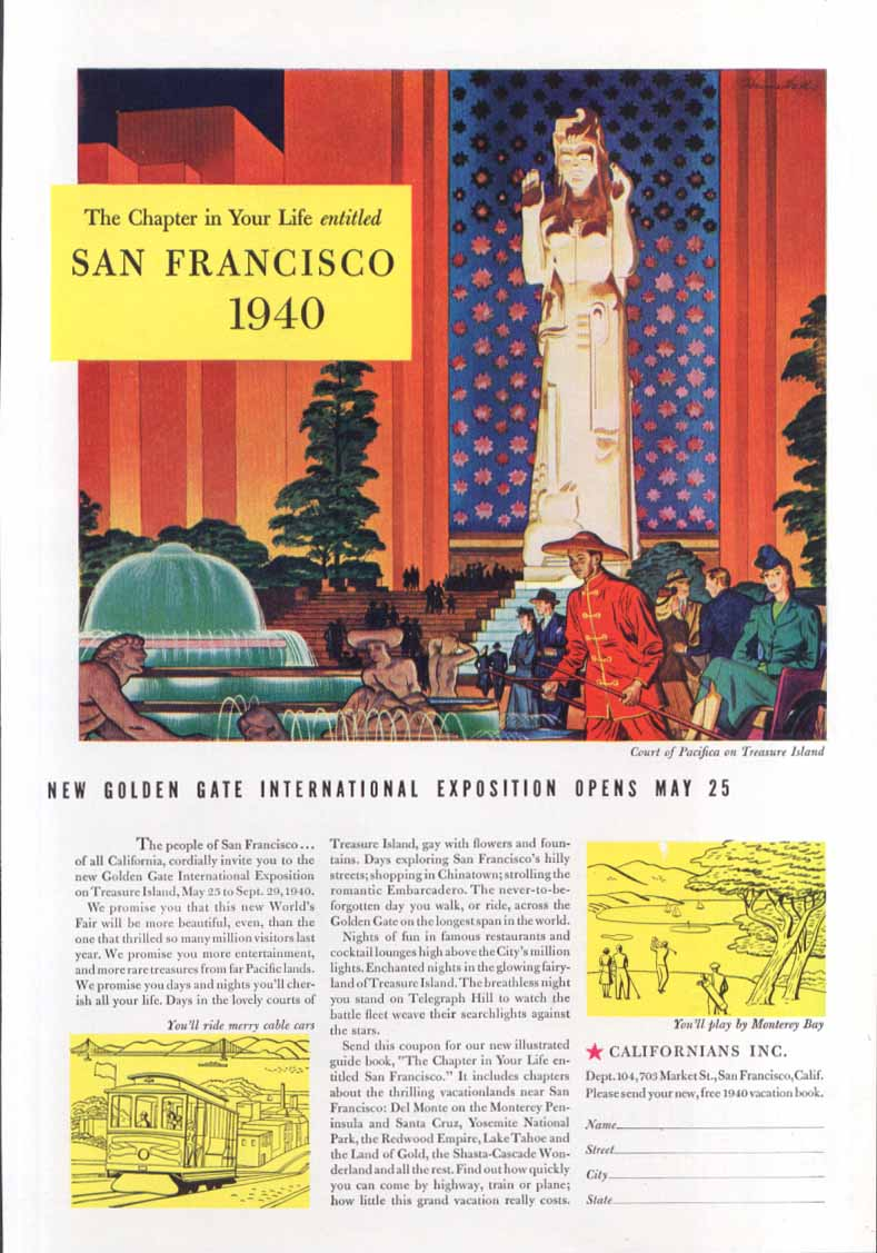Image for San Francisco World's Fair Golden Gate Expo ad 1940