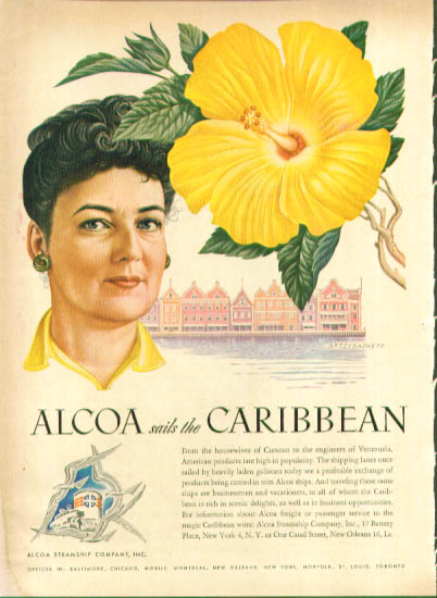 Artzybasheff ad Alcoa Steamship yellow flower 1948
