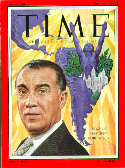 Image for Artzybasheff cover Brazil's Kubitschek Time 2/13 1956