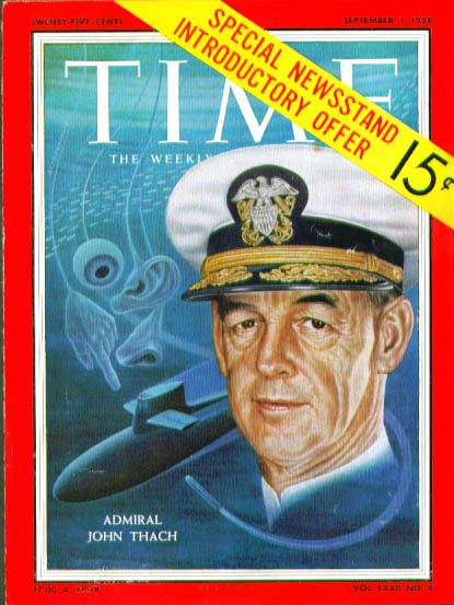 Image for Artzybasheff cover Admiral Thach Time 9/1 1958