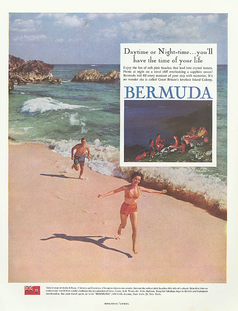 Daytime or Night-time Bermuda tourism ad 1961