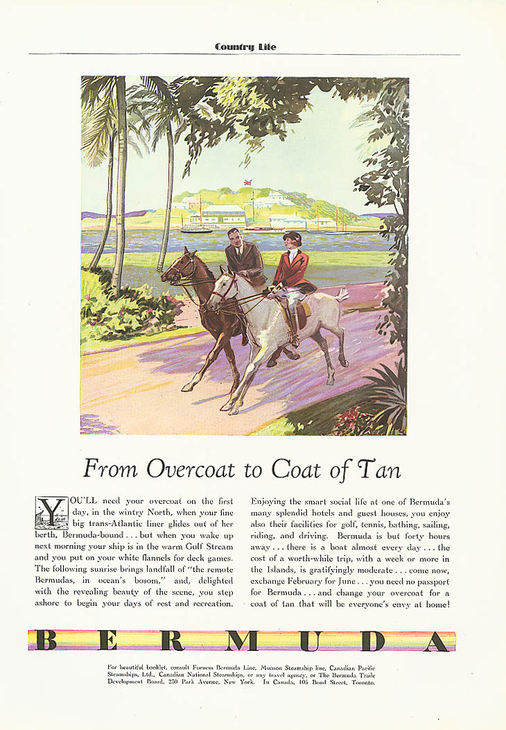 From Overcoat to Coat of Tan Bermuda tourism ad 1932